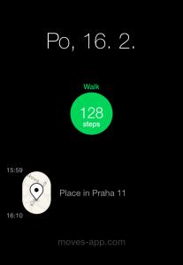 Prostředí aplikace Moves pro měření kroků a ušlé vzdálenosti.